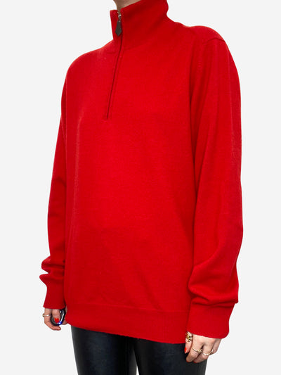 Red quarter zip sweater - size L
