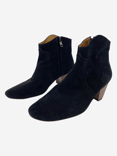Dicker black suede heeled ankle boots - size EU 40