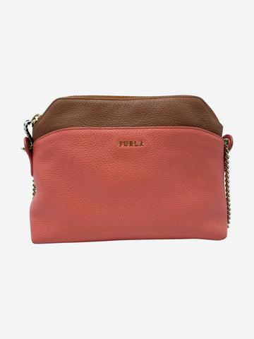 Coral and brown crossbody bag