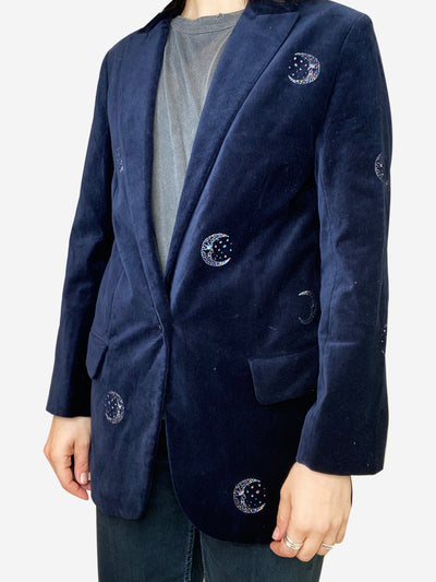 Navy velvet blazer with moon embroidery - size FR 38