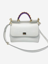 Load image into Gallery viewer, Medium Miss Sicily white Limited Edition studded top handle bag