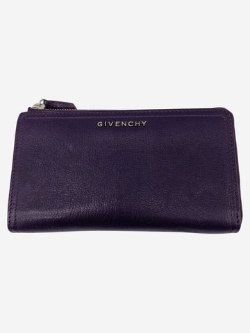 Dark purple long leather wallet