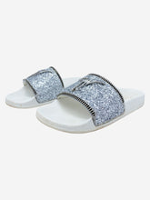 Load image into Gallery viewer, Silver glitter logo slides with zip - size EU 38