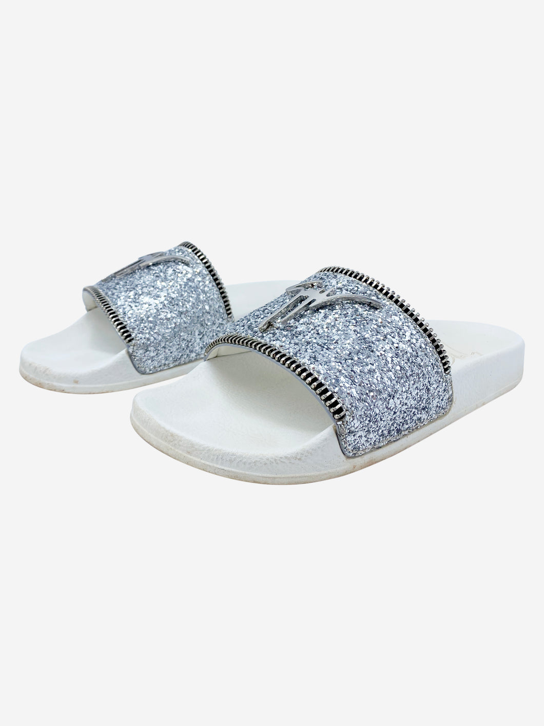 Silver glitter logo slides with zip - size EU 38