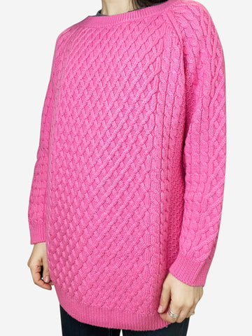 Pink cable knit merino wool sweater - size M