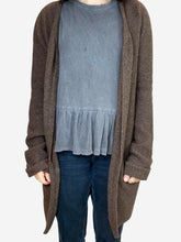 Load image into Gallery viewer, Brown longline open cardigan - size S