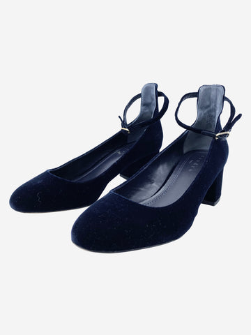 Blue velvet block heel shoes - size EU 38