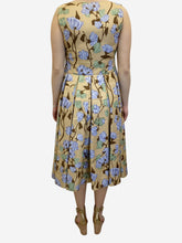 Load image into Gallery viewer, Yellow floral silk midi dress - size UK 14