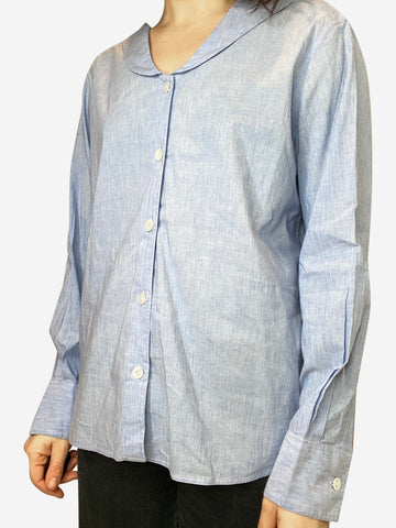 Blue button down shirt with peter pan collar - size UK 10