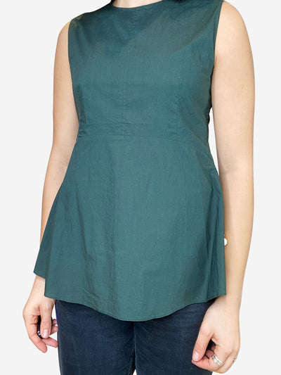 Green sleeveless fit-and-flare top - size UK 8