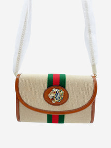 Beige Mini Rajah tiger canvas cross body bag