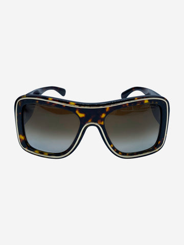 Brown and gold shield sunglasses