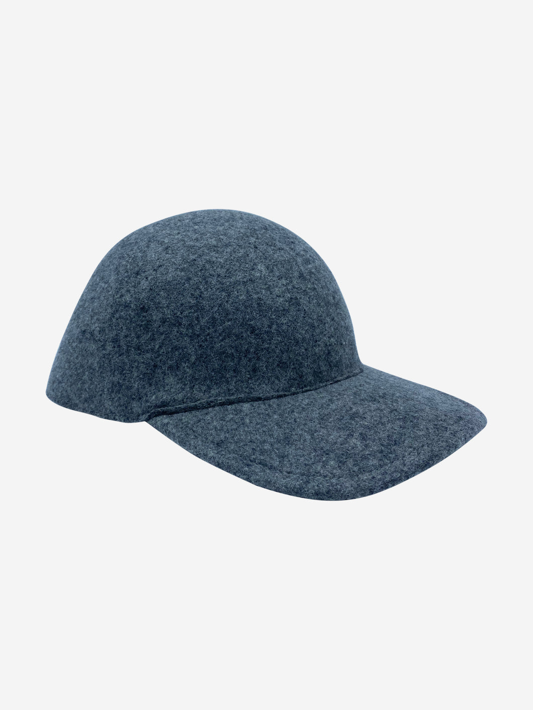 Grey felt wool baseball cap