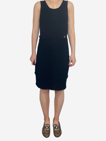 Black sleeveless knit midi dress - size FR 38