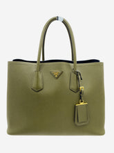 Load image into Gallery viewer, Khaki green Saffiano leather tote bag