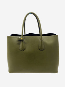 Khaki green Saffiano leather tote bag