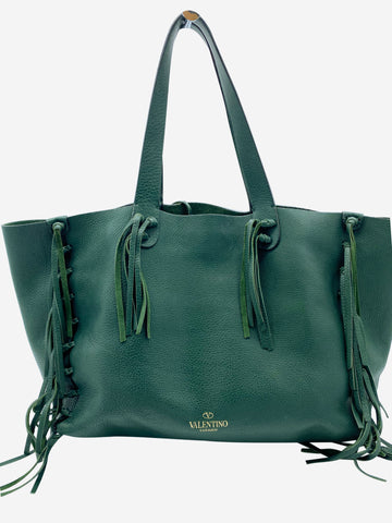 C-rockee green fringed leather tote bag