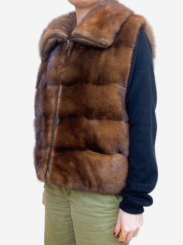 Brown fur collared gilet - size UK 14