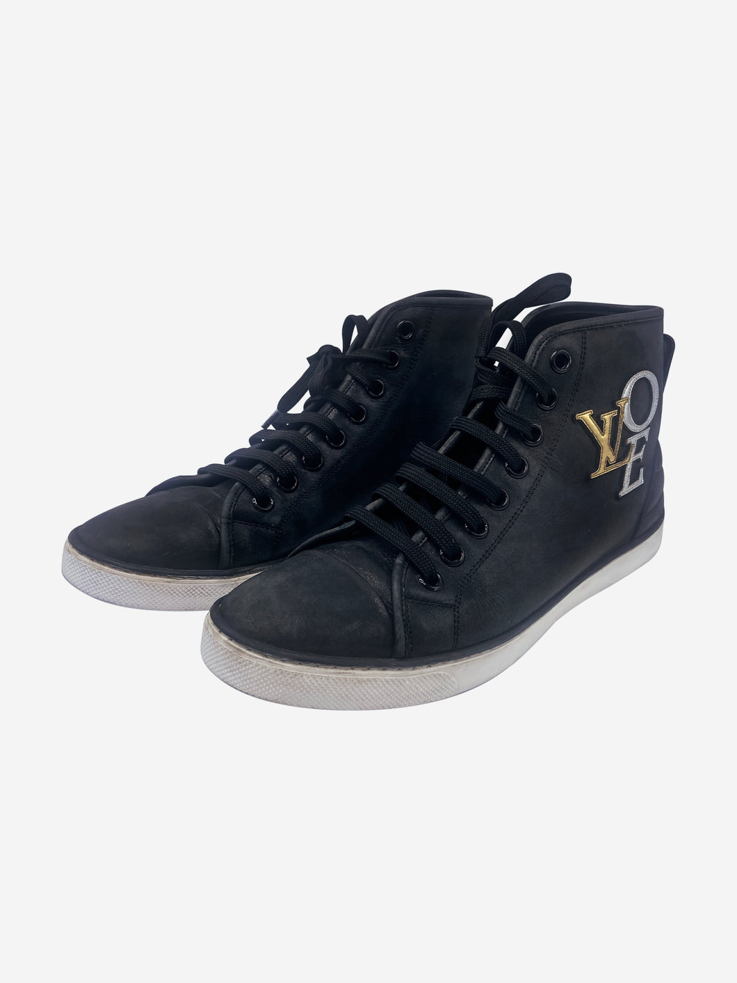 Black high top lace up trainers - size EU 38.5
