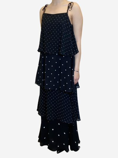 Black and white polkadot tiered maxi dress - size S