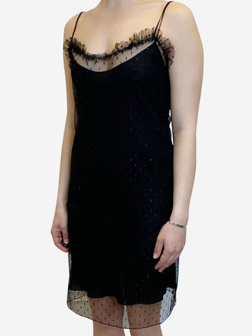 Black net and slip dress - size UK 6