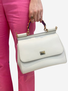 Dolce & Gabbana Medium Miss Sicily white Limited Edition studded top handle bag
