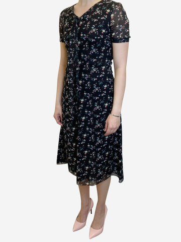 Black floral print short sleeve midi dress - size UK 10
