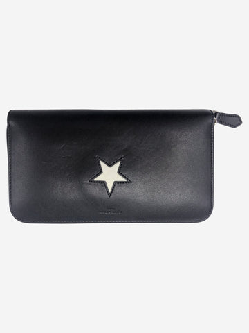 Black and white star-embossed zip around wallet