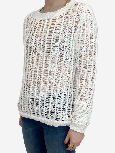 White long sleeve open weave sweater - size L