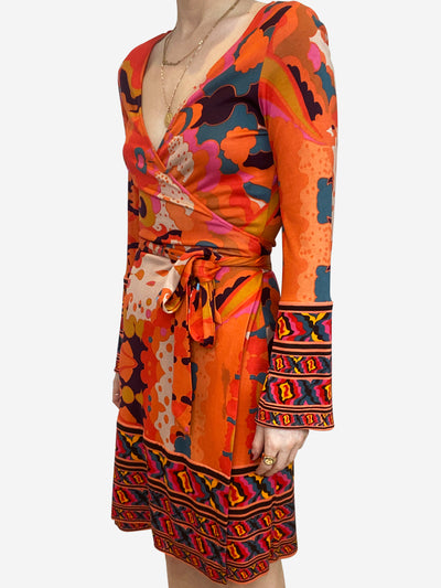 Orange retro print wrap dress - size US 6