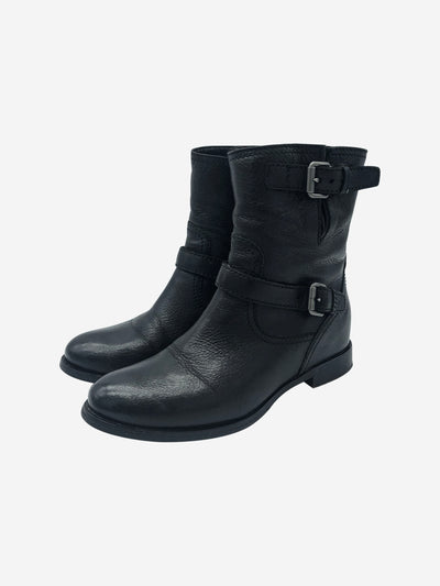 Black leather biker boots with buckles - size EU 39.5