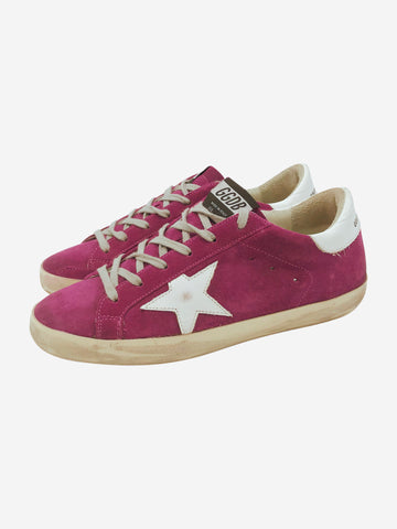 Magenta trainers with white star and grey laces - size EU 38