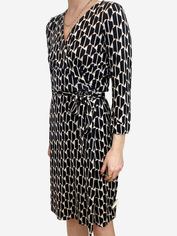 Black, cream and beige geometric print wrap dress - size US 10