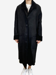 Margaret Howell Long black shearling coat- size UK 14