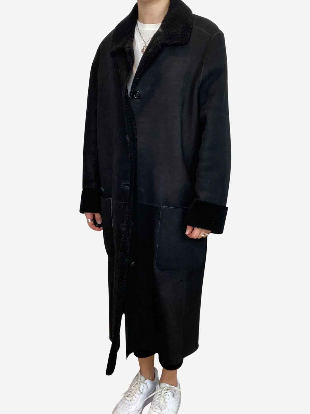 Long black shearling coat- size UK 14