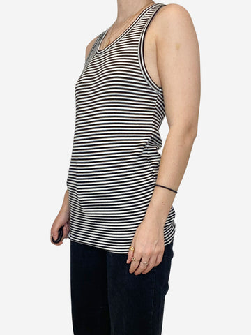 Black and white striped sleeveless vest - XS