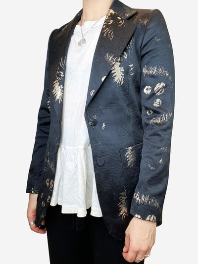Black and gold jacquard fitted blazer- size UK 8