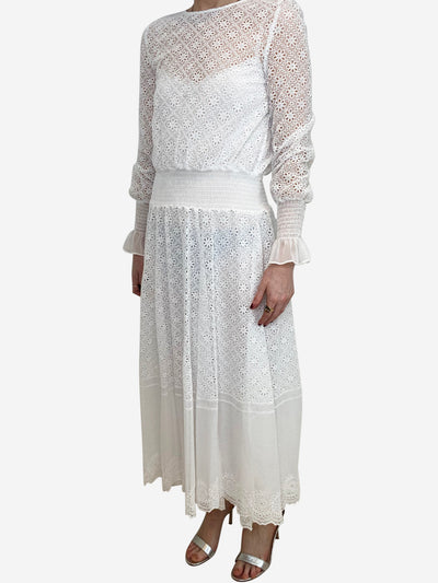 White broidery anglais midi dress - size UK 10