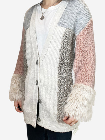 Grey, cream and pink textured knit cardigan - size FR 34