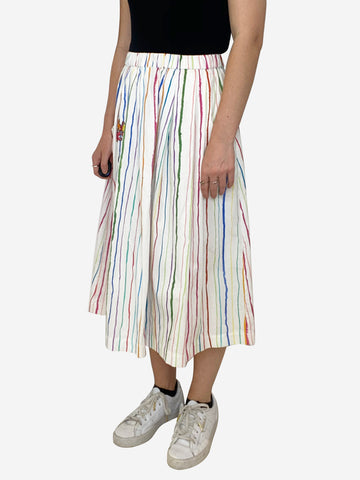"White and multicolour striped skirt with ""think less"" campervan applique - size 10"