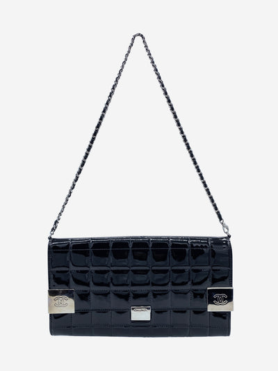 Black patent quilted clutch crossbody bag