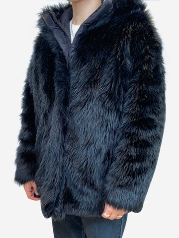 Black faux fur coat - size UK 8