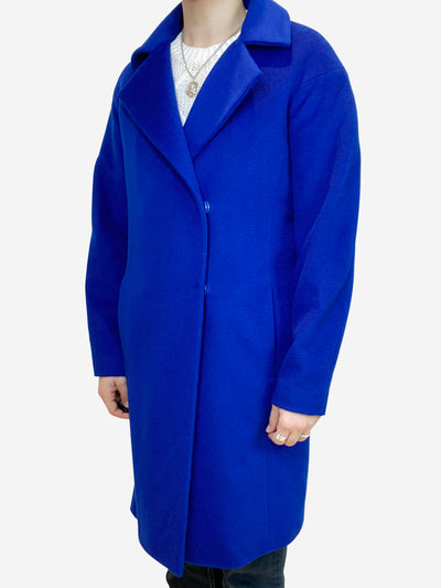 Electric blue wool blend coat - size UK 8