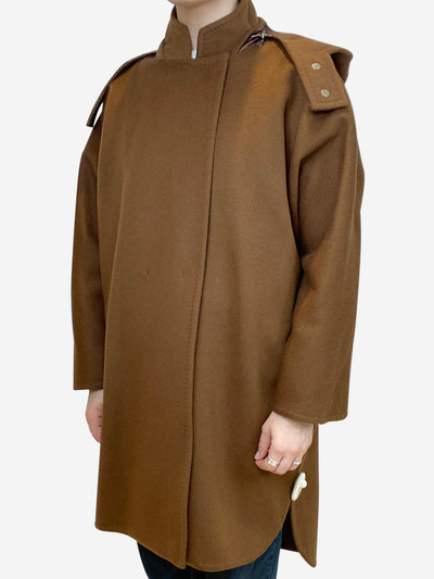 Brown oversized hooded coat- size UK 6