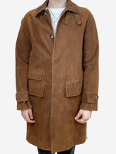 Load image into Gallery viewer, Brown suede long coat - size S
