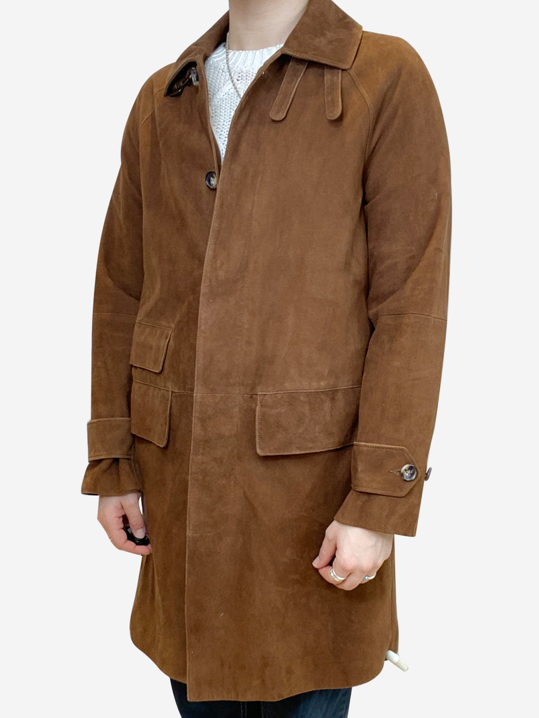 Brown suede long coat - size S