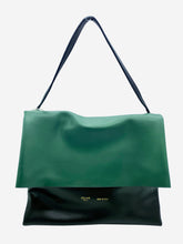 Load image into Gallery viewer, Green, black and white large top handle flap bag