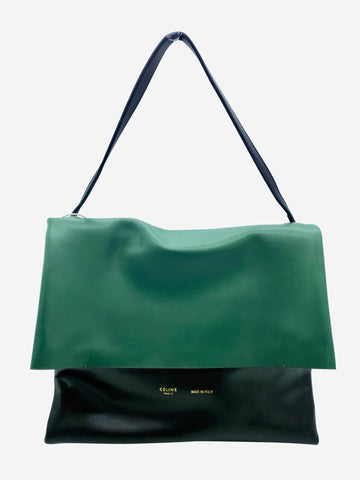 Green, black and white large top handle flap bag