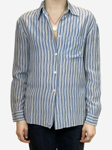 Prada Blue and white striped button down shirt - size UK 10
