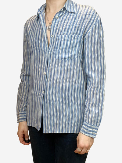 Blue and white striped button down shirt - size UK 10